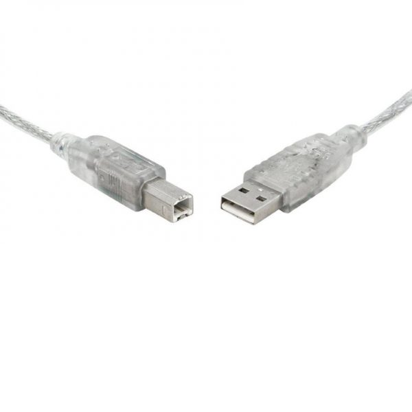 8ware-UC-2000AB-8Ware USB 2.0 Cable 0.5m (50cm) A to B Transparent Metal Sheath UL Approved