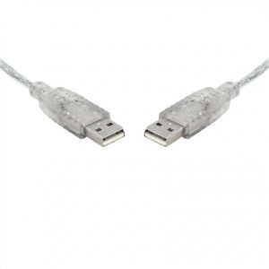 8ware-UC-2002AA-8Ware USB 2.0 Cable 2m A to A Male to Male Transparent