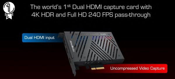 AVerMedia-GC570D-AVerMedia GC570D 4k HDR and 1080p240 pass-thru. Record @ 1080p60 HDR with Dual-HDMI input + 1 HDMI output. (LS)