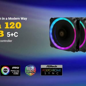 Antec-Prizm 120 ARGB 5+C-Antec Prizm 120mm ARGB Fan. 5+C 5 in 1 Pack with 5x 12CM RGB Dual Ring Outer Fan - PWM Fans and 1x Fan Controller. 2 Years Warranty