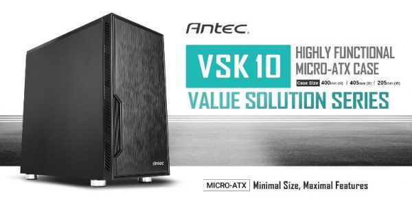 Antec-VSK10 Solid-Antec VSK10 mATX Case. 2x USB 3.0 Thermally Advanced Builder's Case. 1x 120mm Fan preinstalled. Two Years Warranty