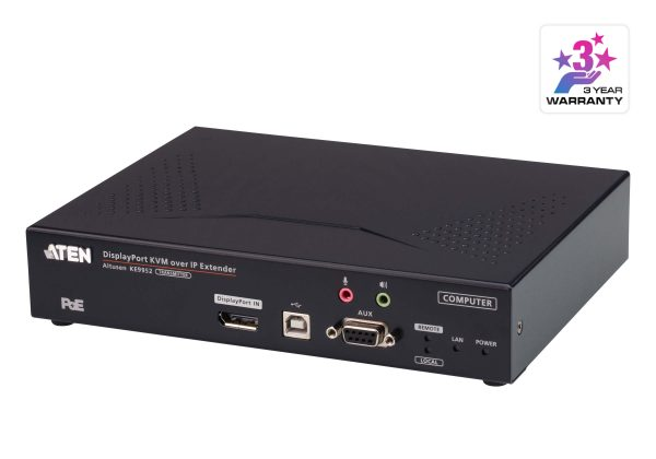 Aten-KE9952T-AX-Aten 4K DP Single Display KVM over IP Transmitter with Power over Ethernet