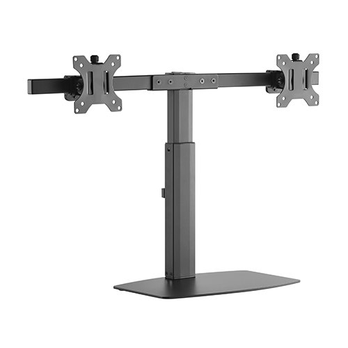 Brateck-LDS-22T02-Brateck Dual Free Standing Screen Pneumatic Vertical Lift Monitor Stand Fit Most 17'-27' Monitors Up to 6kg per screen VESA 75x75/100x100