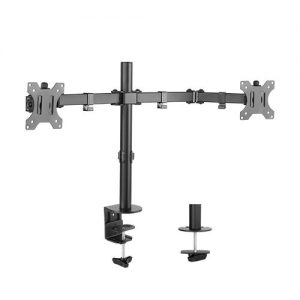 Brateck-LDT12-C024N-Brateck Dual Screens Economical Double Joint Articulating Steel Monitor Arm Fit Most 13''-32'' Monitors Up to 8kg per screen VESA 75x75/100x10