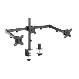 Brateck-LDT12-C034N-Brateck Triple Screens Economical Double Joint Articulating Steel Monitor Arms