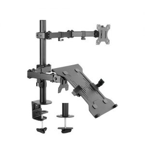 """Brateck-LDT12-C1M2KN-Brateck Economical Double Joint Articulating Steel Monitor Arm with Laptop Holder Fit Most 13""""-32"""" Monitors"""