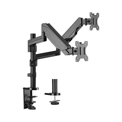 """Brateck-LDT16-C024-Brateck Dual Monitor Full Extension Gas Spring Dual Monitor Arm (independent Arms) Fit Most 17""""-32"""" Monitors Up to 8kg per screen VESA 75x75/100x100"""