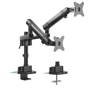 "Brateck-LDT20-C024UP-Brateck Dual Monitor Aluminium Slim Pole-Mounted Spring-Assisted Monitor Arm With USB Fit Most 17""-32"" Monitors Up to 8kg per screen 75x75/100x100"