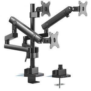 "Brateck-LDT20-C036UP-Brateck Triple Monitor Aluminum Slim Pole Held Mechanical Spring Monitor Arm Fit Most 17""-27"" Monitors Up to 7kg per screen VESA 75x75/100x100"
