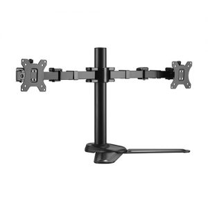 """Brateck-LDT33-T024-Brateck Dual Free Standing Monitors Affordable Steel Articulating Monitor Stand Fit Most 17""""-32"""" Monitors Up to 9kg per screen VESA 75x75/100x100"""