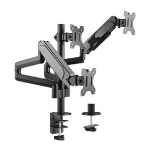 "Brateck-LDT48-C036-Brateck Triple Monitors Pole-Mounted Gas Spring Monitor Arm Fit Most 17""-27"" Monitors Up to 7kg per screen VESA 75x75/100x100"