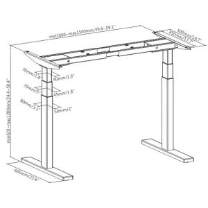Brateck-M09-23D-W-Brateck High performance 3-Stage Dual Motor Sit-Stand Desk 1000~1500x600x620~1280mm( WhiteFRAME ONLY); Requires TP15075 for the Board