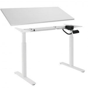 Brateck-MABT-S03-22DTP18075-Brateck 2-Stage Single Motor Electric Sit-Stand Desk Frame with button Control Panel-White Colour; TP18075  White Colour Board