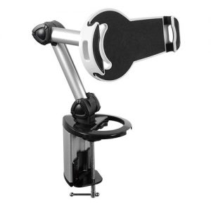 """Brateck-PAD18-02-Brateck 2-IN-1 Aluminum Tablet Desk Clamp Holder (Desk Stand/Wall Mount) For Most 7""""-10.4"""" Tablets (LS)"""
