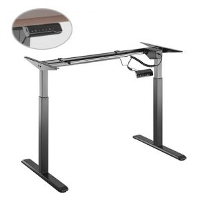 Brateck-S03-22D-B-Brateck 2-Stage Single Motor Electric Sit-Stand Desk Frame with button Control Panel-Black Colour (FRAME ONLY); Requires TP18075 for the Board