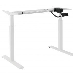 Brateck-S03-22D-Brateck 2-Stage Single Motor Electric Sit-Stand Desk Frame with button Control Panel-White Colour (FRAME ONLY); Requires TP18075 for the Board