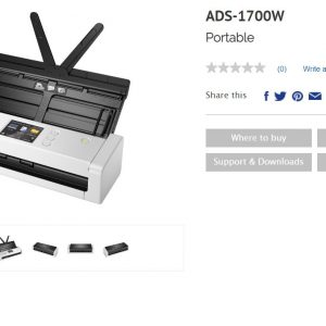 Brother-ADS-1700W-Brother ADS-1700W *NEW* COMPACT DOCUMENT SCANNER with Touchscreen LCD display  WiFi (25ppm) One Year Warranty