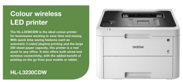 Brother-HL-L3230CDW-Brother HL-L3230CDW Colour LED Laser Printer with automatic 2-sided printing and wireless connectivity. 24ppm Mono and Colour