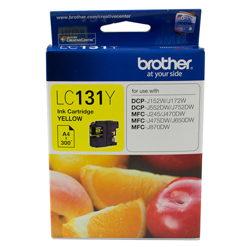 Brother-LC-131Y-Brother LC-131Y Yellow Ink Cartridge - to suit DCP-J152W/J172W/J552DW/J752DW/MFC-J245/J470DW/J475DW/J650DW/J870DW - up to 300 pages