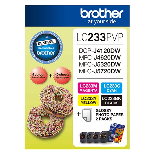 Brother-LC-233PVPS-Brother LC233 Photo Value Pack- 1x Black 1x Cyan  1x Magenta 1XYellow + 40 Sheets Photo Paper
