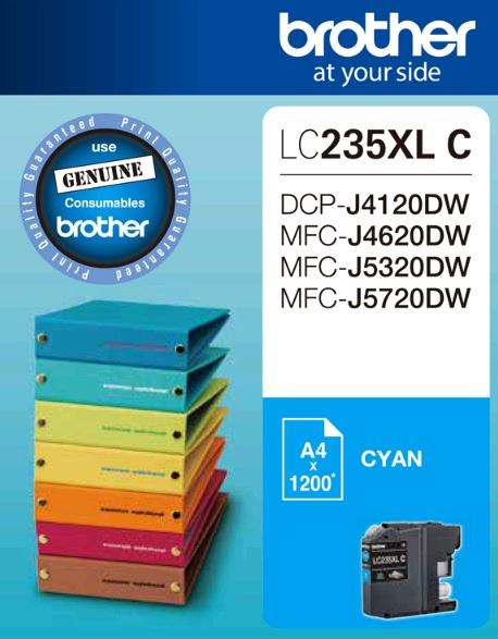 Brother-LC-235XLCS-Brother LC235XL CS Cyan Ink Cartridge -to suit DCP-J4120DW/MFC-J4620DW/J5320DW/J5720DW - up to1200 pages