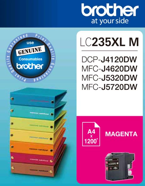 Brother-LC-235XLMS-Brother LC235XL MS Magenta Ink Cartridge - DCP-J4120DW/MFC-J4620DW/J5320DW/J5720DW - up to1200 pages