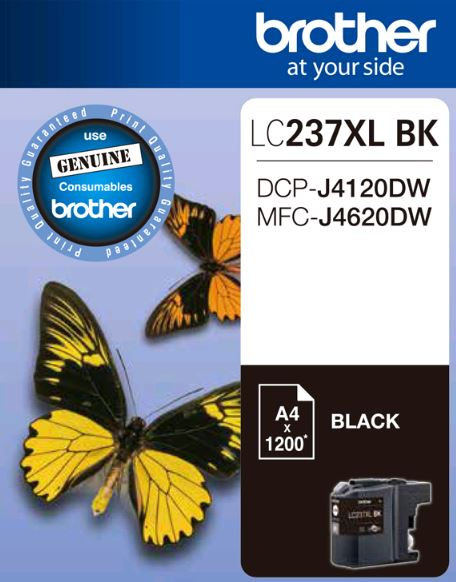 Brother-LC-237XLBKS-Brother LC237XLBKS Black Ink Cartridge - to suit DCP-J4120DW/MFC-J4620DW - up to 1200 pages