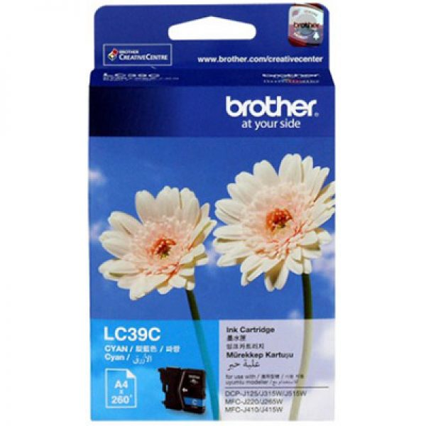 Brother-LC-39C-Brother LC-39C Cyan Ink Cartridge - DCP-J125/J315W/J515W MFC-J220/J265W/J410/J415W/J140W- up to 260 pages