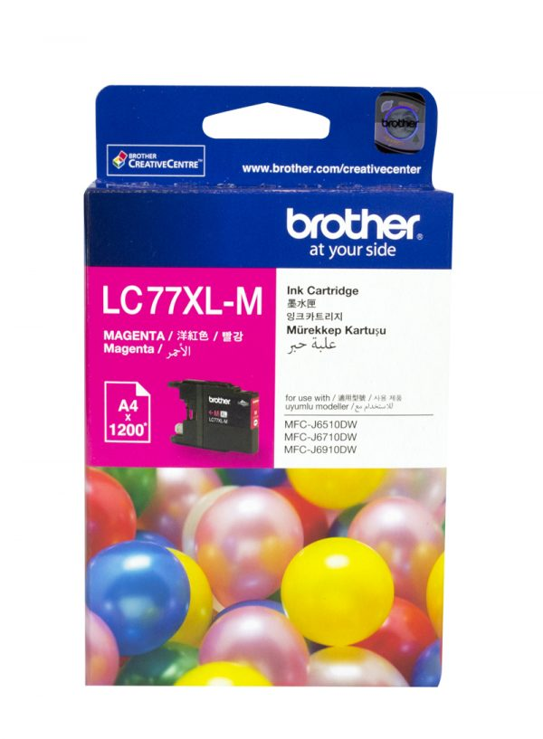 Brother-LC-77XLM-Brother LC-77XLM Magenta Super High Yield Ink Cartridge- MFC-J6510DW/J6710DW/J6910DW/J5910DW - up to 1200 pages