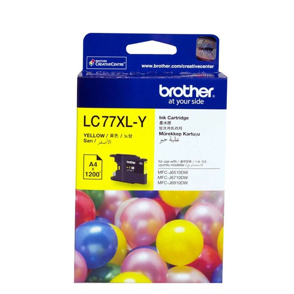 Brother-LC-77XLY-Brother LC-77XLY Yellow Super High Yield Ink Cartridge- MFC-J6510DW/J6710DW/J6910DW/J5910DW - up to 1200 pages