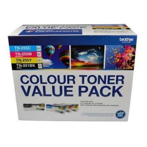 Brother-TN-251BK-TN-255CMY-4PK-Brother  TN-251BK and TN255 Colour Laser Toner Value Pack. Black
