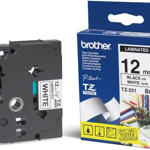 Brother-TZE-231-Brother 12mm Black on White TZE Tape