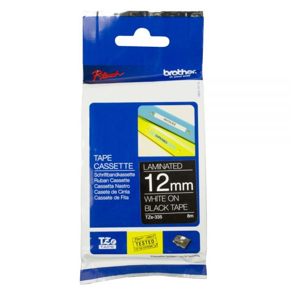 Brother-TZE-335-Brother 12mm White on Black TZE Tape