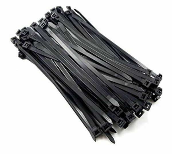 """Cabac-8WCT196BK-8Ware 200mm x 2.5mm (4"""") Bag of 100 Pack UV Resistant Wide Nylon Zip Cable Ties Black ~CBC-CT196BK-LD"""