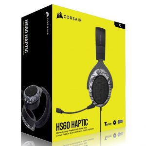 Corsair-CA-9011225-AP-Corsai HS60 HAPTIC Stereo Gaming Headset with Haptic Bass - Black with Camouflage Black and White Cover. Headphone