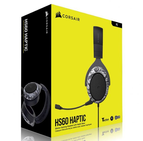 Corsair-CA-9011225-AP-Corsai HS60 HAPTIC Stereo Gaming Headset with Haptic Bass - Black with Camouflage Black and White Headset Cover