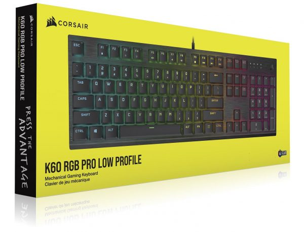 Corsair-CH-910D018-NA-Corsair K60 RGB PRO LOW PROFILE Mechanical Gaming Keyboard