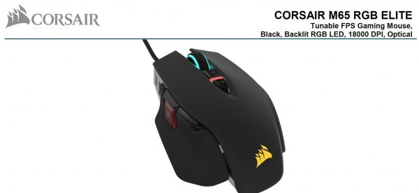 Corsair-CH-9309011-AP-Corsair M65 RGB ELITE Tunable FPS Gaming Mouse Black