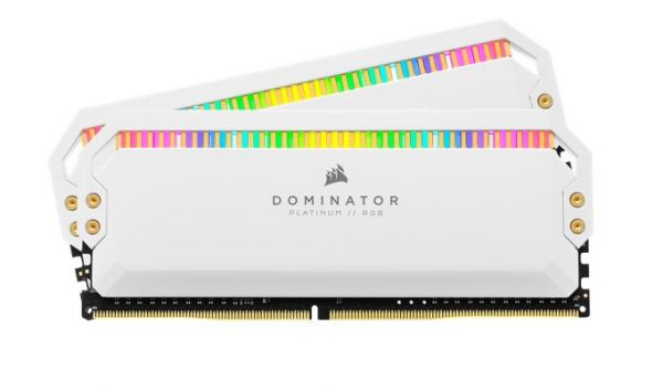 Corsair-CMT32GX4M2K4000C19W-Corsair Dominator Platinum RGB 32GB (2x16GB) DDR4 4000MHz C19 1.35V DIMM XMP 2.0 White Heatspreaders Desktop PC Gaming Memory