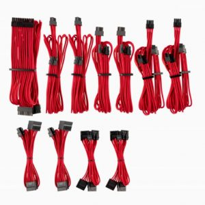 Corsair-CP-8920223-For Corsair PSU - Red Premium Individually Sleeved DC Cable Pro Kit