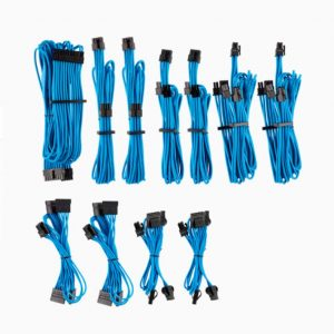 Corsair-CP-8920225-For Corsair PSU - BLUE Premium Individually Sleeved DC Cable Pro Kit