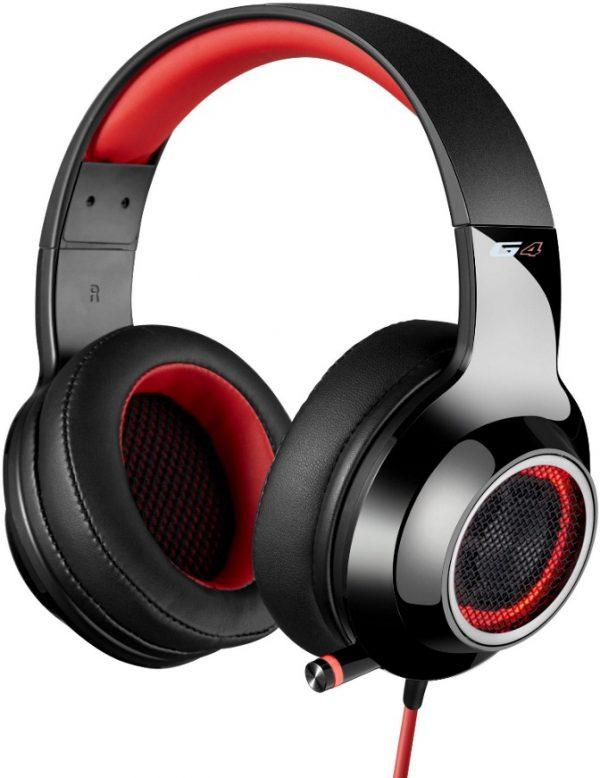 EDIFIER-V4-RED-Edifier V4 (G4) 7.1 Virtual Surround Sound USB Gaming Headset Red - V7.1 Surround Sound/ Retractable Mic/LED Lights Mesh/Headphones/Gaming/PC (LS)