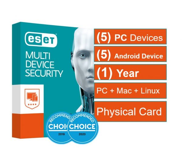 Eset-AV-ES-EMDSR51Y-ESET Multi Device Security (Advanced Protection) 5 Windows PCs or Macs or Linux + 5 Android Devices 1 Year - Includes 1x Physical Printed Download