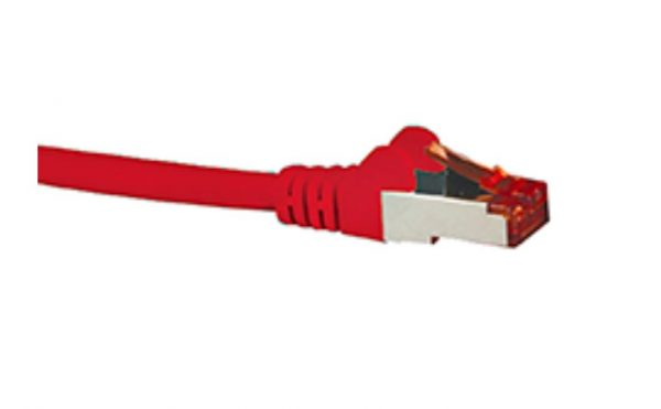 Hypertec-HCAT6ARD0.5-Hypertec CAT6A Shielded Cable 0.5m Red Color 10GbE RJ45 Ethernet Network LAN S/FTP Copper Cord 26AWG LSZH Jacket