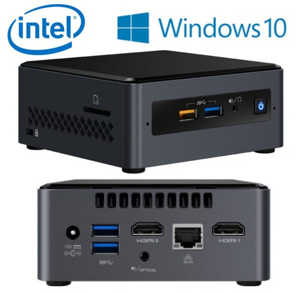 "Intel-BOXNUC7CJYSAL4-Intel NUC mini PC J4005 2.7GHz 4GB DDR4 32GB eMMC 2.5"" HDD Windows 10 Home 2xHDMI 2xDisplays GbE LAN WiFi BT 4xUSB3.0 BOXNUC7CJYSAL4"
