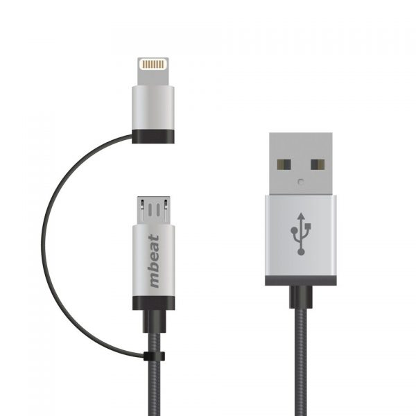 MBEAT-ICAB21-1S-mbeat® 1m Lightning and Micro USB Data Cable - 2-in-1/Aluminmum Shell Crush-Proof/Nylon Braided/Silver/ Apple/Andriod Tablet Mobile Device (L)
