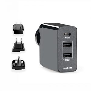 MBEAT-MB-CHGR-PD45-mbeat® Gorilla Power 45W USB-C Power Delivery (PD 2.0) and Dual USB-A World Travel Charger