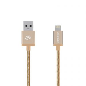 """MBEAT-MB-ICA-GLD-mbeat® """"Toughlink""""1.2m Lightning Fast Charger Cable - Gold/Durable Metal Braided/MFI/Apple iPhone X 11 7S 7 8 Plus XR 6S 6 5 5S iPod iPad Mini Air"""