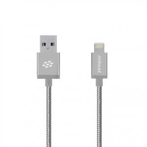 """MBEAT-MB-ICA-SLV-mbeat® """"Toughlink""""1.2m Lightning Fast Charger Cable - Silver/Durable Metal Braided/MFI/Apple iPhone X 11 7S 7 8 Plus XR 6S 6 5 5S iPod iPad Mini Air"""