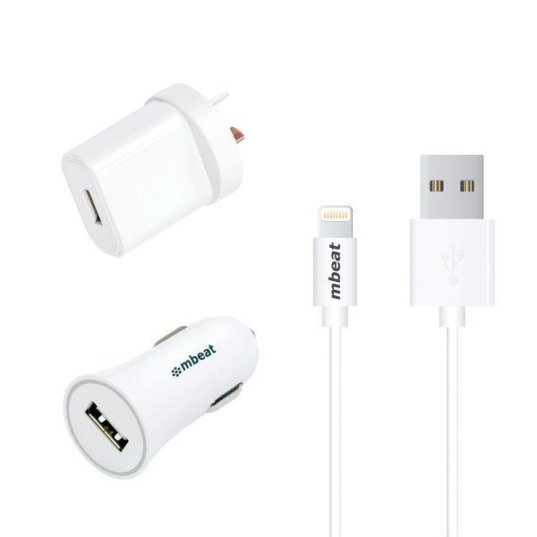MBEAT-MB-UCK-A31W-mbeat 3-in-1 MFI USB Lightning Charging Kit (1m Lighting to USB Cable + 2.1A Car  Wall Charger)